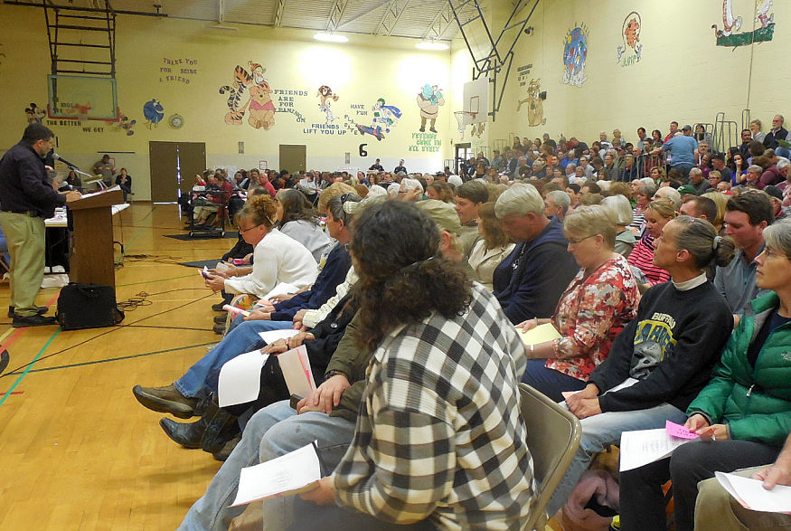 Voters gathered in Vernon on Monday, May 5, 2014, for a special town meeting, and decided to end the town's police department.