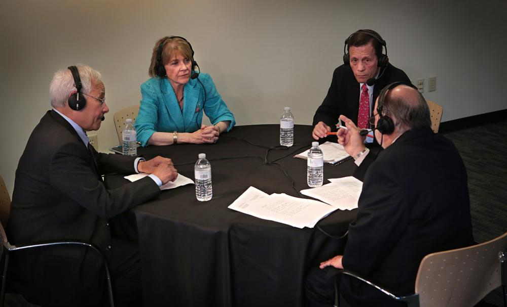 From left, Democratic gubernatorial candidates Donald Berwick, Martha Coakley and Steve Grossman debate at WBUR. Host Bob Oakes moderates.