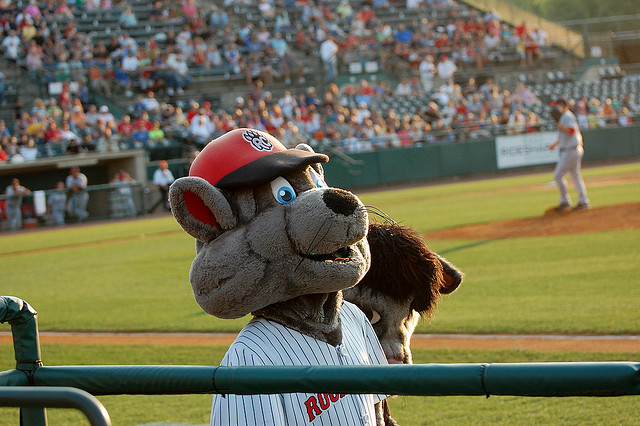 The New Britain Rock Cats mascot.