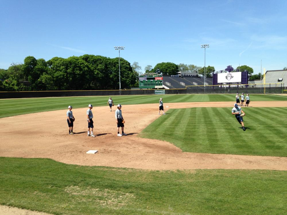 The Worcester Bravehearts practice infield drills at Hanover Insurance Park at Fitton Field.