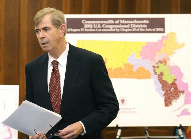 Massachusetts Secretary of State William F. Galvin spoke of the redistricting plans and the shift in Massachusetts population during a new conference at the Western Mass State Office Building in Springfield in 2011.