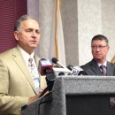 Chicopee Mayor Richard Kos and state representative Joseph Wagner at a press conference Thursday, July 24, 2014.