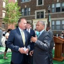 Gov. Deval Patrick talks with Gordon Pulsifer of First Resource Development, following affordable housing funding  announcement at Outing Park in Springfield's South End Monday,  July 7, 2014. Outing Park's revitalization project is among recipients of the affordable housing funding.