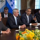 El Salvador's President Salvador Sanchez Ceren, left, Guatemala's President Otto Perez Molina, U.S. President Barack Obama, and Honduran President Juan Hernandez meet to discuss Central American immigration and the border crisis in the Cabinet Room of the White House on Friday.