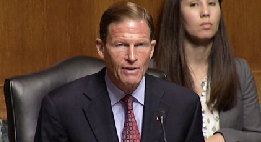 Conn. US Senator Richard Blumenthal gives his opening statement during a hearing of the Senate Judiciary Committee on Tuesday, July 15.