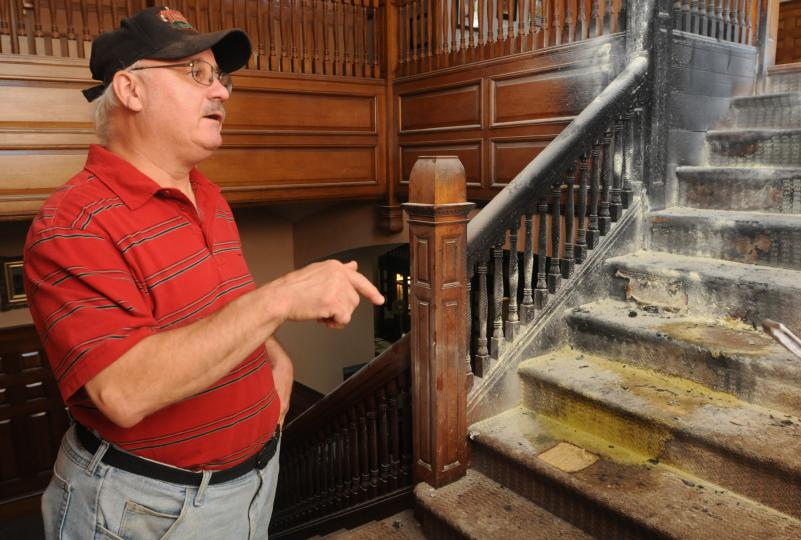 Mark Toczydlowski, a custodian at Forbes Library, was one of the first at the scene of the fire on July 14, 2014.