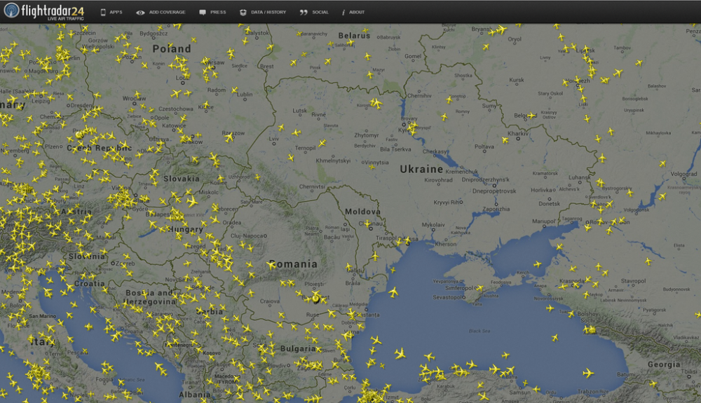 This screengrab from Flightradar24.com shows the pocket of open airspace above Ukraine after a Malaysia Airlines flight crashed in the eastern part of the country.