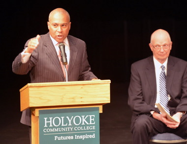 Mass. Gov. Deval Patrick spoke in February 2013 at Holyoke Community College. William Messner, president of the college, is at right.