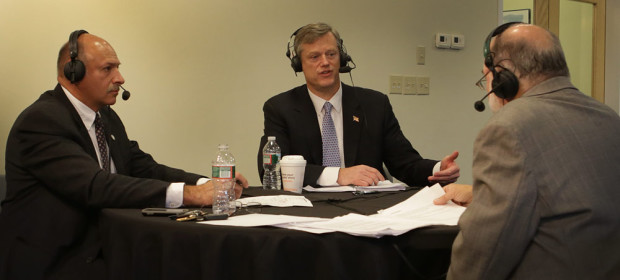 Republican gubernatorial candidates Mark Fisher, left, and Charlie Baker debate at WBUR on August 13, 2014. WBUR host Bob Oakes moderates.
