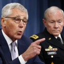 "Secretary of Defense Chuck Hagel, left, with Chairman of the Joint Chiefs of Staff Gen.  Martin Dempsey during a Pentagon briefing on Thursday. Hagel said Islamic State militants in Iraq and Syria posed a threat ""beyond anything we've seen."""