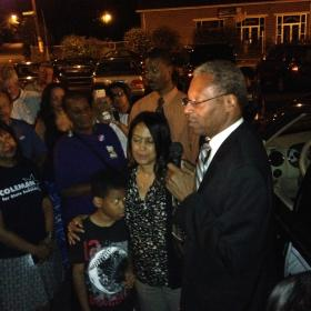Conn. state Sen. Eric Coleman (D) celebrating his primary victory on Tuesday, August 12, 2014.