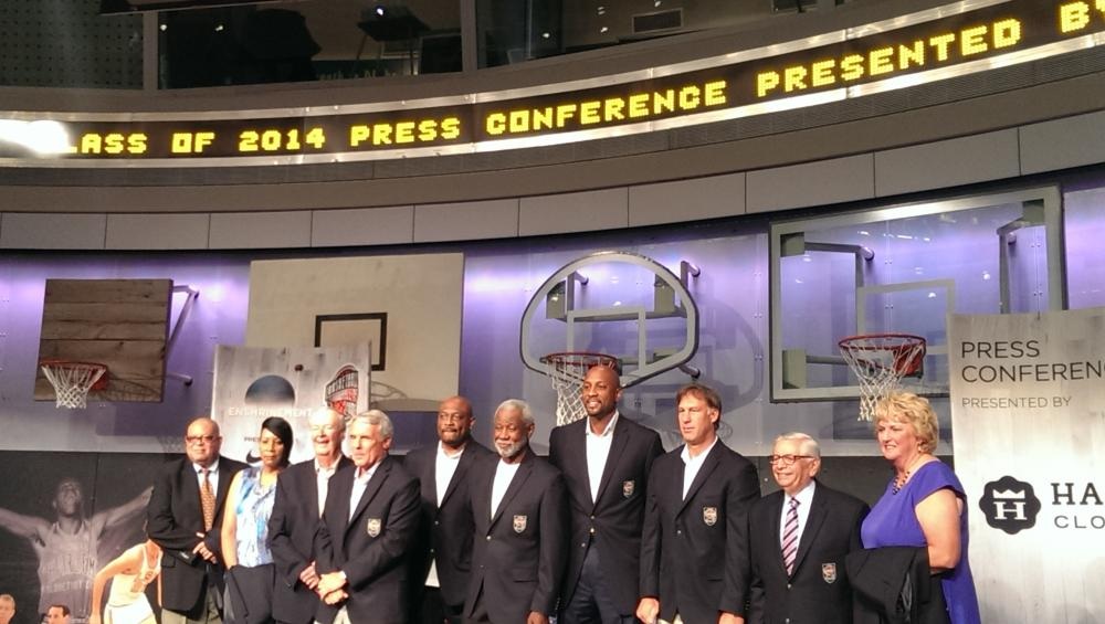 The 2014 Basketball Hall of Fame class at a press conference on Thursday, August 7 2014