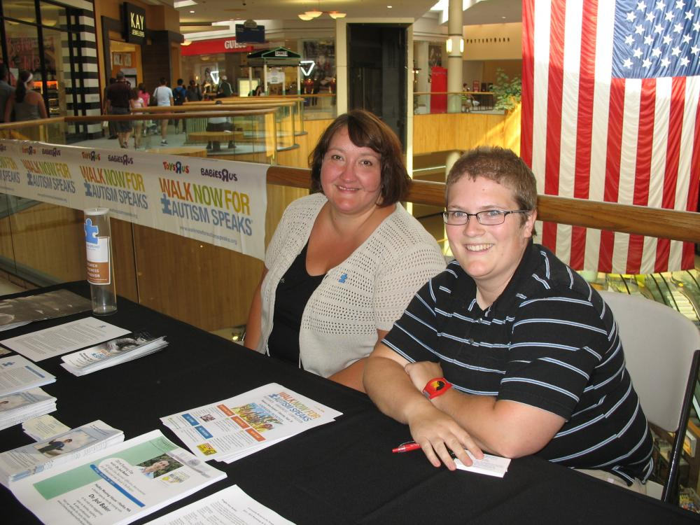 Hope Tremblay (left) and Sarah Hunter at the Holyoke Mall's Sensory-Friendly Shopping Night