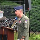 Colonel James Keefe, commander of the 104th Fighter Wing, addresses the media at Barnes Air National Guard Base.