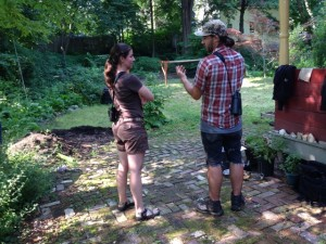 Researchers Susannah Lerman and Thom Bullock in  backyard in Greenfield, Mass., where they are studying backyard birds. (Nancy Eve Cohen)