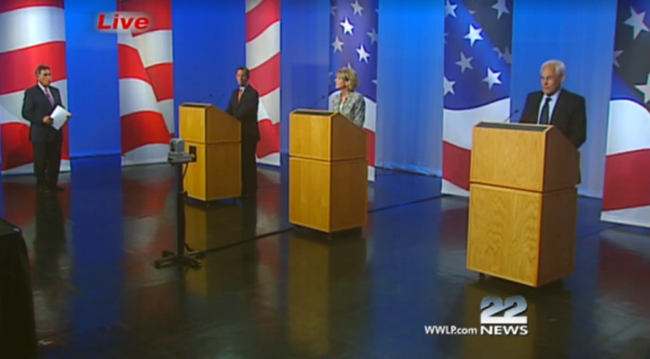 The Democrats running in the 2014 race for Massachusetts governor - Martha Coakley, Steve Grossman and Don Berwick - debated at the studios of WWLP-TV.