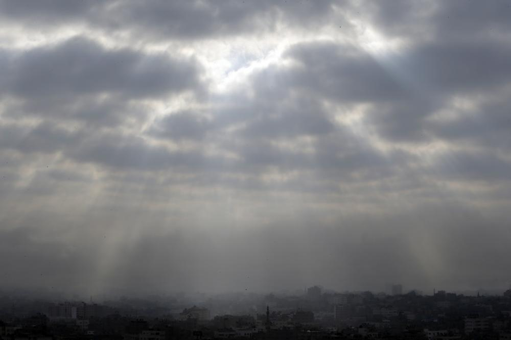 Gaza City, northern Gaza Strip, is seen shortly before the start of a proposed cease-fire on Friday.