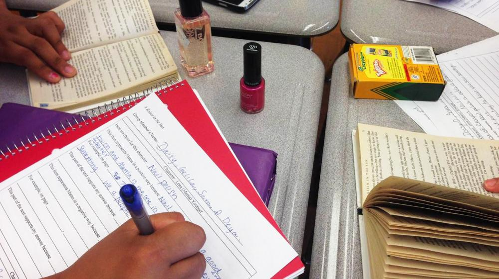 Normally, nail polish on a desk would be a sign of distraction. Not in this Common Core classroom.