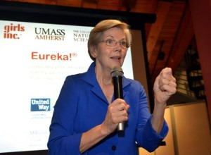 Girls from Girls Inc. in Holyoke gave presentations Friday, August 1 at Heritage State Park to share what they learned in the Eureka! summer program at UMass. Senator Elizabeth Warren visited to watch some of the presentations. Here, Sen. Warren talks to the audience