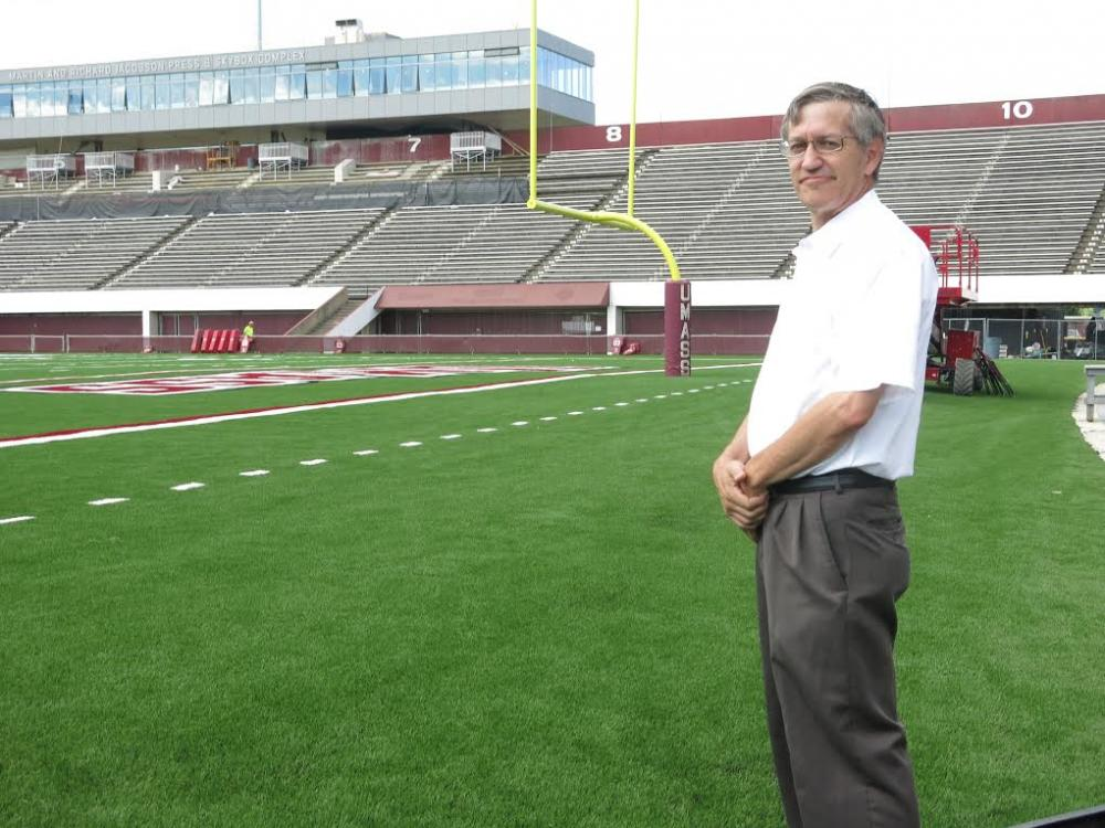 The Springfield Republican newspaper's Ron Chimelis, inside the newly renovated McGuirk Stadium in August 2014.