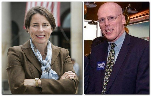 Democratic candidates for Massachusetts Attorney General Maura Healey and Warren Tolman