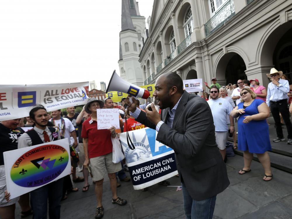 Lester Berryman, a same-sex-marriage advocate, speaks at a rally in New Orleans in June 2013.