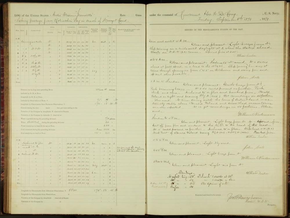 Logbook for the Jeannette, a ship that became trapped in ice, dated September 5, 1879.