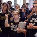 A rally against racism at the University of Massachusetts was held inside the Student Union on campus on Thursday, October 16, 2014.