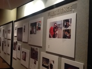 Poster display on stories of resilience at international conference.