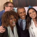 President Obama poses for a selfie after he was interviewed by YouTube stars GloZell Green, left, Hank Green and Bethany Mota.