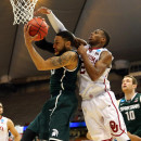 Oklahoma's Buddy Hield, right, and Denzel Valentine of Michigan State played in Friday's East Regional Semifinal of the 2015 NCAA tournament in Syracuse. If you've got money riding on this year's NCAA tournament, you might want to hear about what happened to John Bovary's football pool.