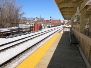 The new passenger train platform in Greenfield.