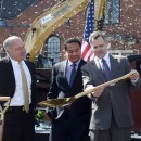 After the March 24, 2015 MGM groundbreaking, Jim Murren, chairman and CEO of MGM Resorts International (right), looks over one of the shovels used for the ceremony, with Stephen Crosby (left), chairman of the Massachusetts Gaming Commission, and Michael Mathis,  president of MGM Springfield.