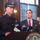 Springfield Police Commissioner John Barbieri and Mayor Domenic Sarno (right) at a press conference on April 23, 2015 addressing gang violence near the campus of American International College.