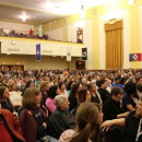 Members of the Holyoke Public School community packed the War Memorial on April 27, 2015, to discuss the possibility of city schools being placed into receivership.