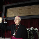 Archbishop Cesare Nosiglia presents the Holy Shroud during a preview for the news media at the Cathedral of Turin, Italy, on Saturday. The shroud — believed by many to be the burial cloth of Christ, will go on display for the first time in five years.