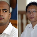 A composite image of file photos shows Australians Myuran Sukumaran, left, and Andrew Chan in Denpasar district court in Bali. Indonesia has rejected appeals for clemency in their cases. The two will reportedly be executed early Wednesday.