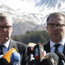CEO of Germanwings Thomas Winkelmann, left, and Lufthansa CEO Carsten Spohr visited the site of the Germanwings jet crash in Le Vernet, France, Wednesday.