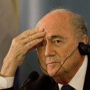 FIFA President Sepp Blatter attends a press conference in Jerusalem on May 19.