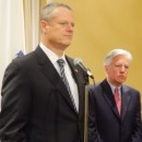 Mass. Gov. Charlie Baker (left) with the incoming president of UMass, Marty Meehan, on May 5, 2015.