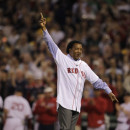 Former Red Sox Pitcher Pedro Martinez throws out the first pitch on Opening Day at Fenway Park in April, 2010.