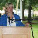 State Senator Karen Spilka is at the podium at the Massachusetts Democratic State Convention 2013