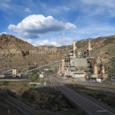 A close carbon-fired power plant outside Helper, Utah.