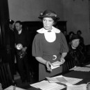 Margaret Sanger appears before a Senate committee for federal birth-control legislation in Washington, D.C. on March 1, 1934, arguing that federal courts be given the right to discuss contraceptive methods with their patients.