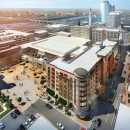 An updated rendering released in September 2015 shows MGM Springfield's scaled-back hotel plan, which no longer includes a 25-story glass tower. Pictured here is the new site of the hotel, at Main and Howard.