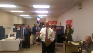 Pittsfield Mayor Dan Bianchi, addressing supporters after the preliminary election on September 22, 2015. Bianchi finished second. (Adam Frenier for NEPR)