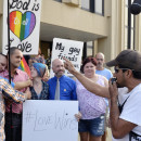 Edgar Orea, right, addresses a group of same-sex marriage supporters outside the Carl D. Perkins Federal Building in Ashland, Ky., Thursday. Rowan County is set to issue marriage licenses to same-sex couples Friday.
