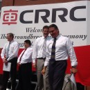 Governor Charlie Baker (far left) and Mayor Dominic Sarno (far right) join other officials at CRRC groundbreaking in Springfield.