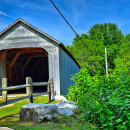 The covered bridge in Sheffield, Mass. near where a monument to a 1969 UFO sighting is located.