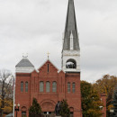 Notre Dame Church in Adams, Mass., one of the two churches making up the Saint John Paul II Parish.